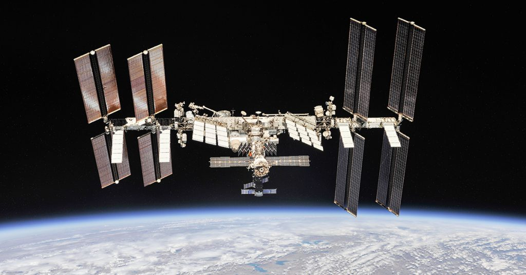 International Space Station against the Earth