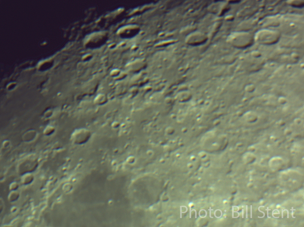 Stacked photo of craters on the Moon through a Celestron 8-inch telescope, and Orion Starshoot 5MP