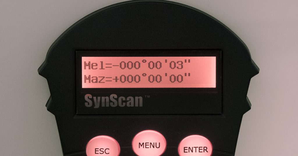 SynScan handbox showing estimated azimuth variance