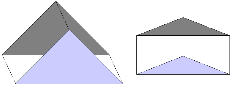 A simple Porro (right angled triangular) prism